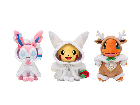 Pokemon plushies in christmas outfits.