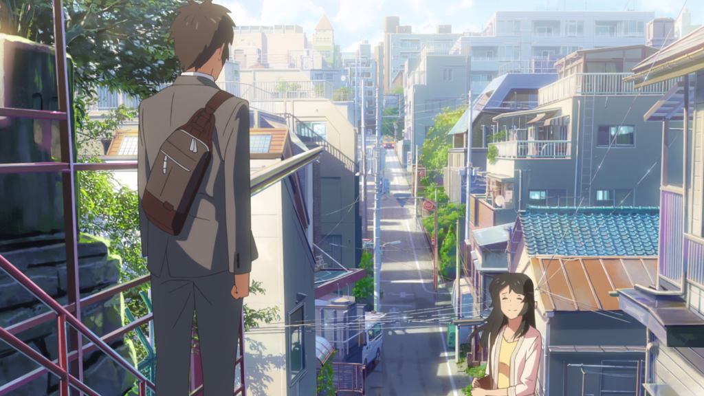 "Taki and Mitsuha meeting at Suga Shrine Steps in the anime ""Your Name"""