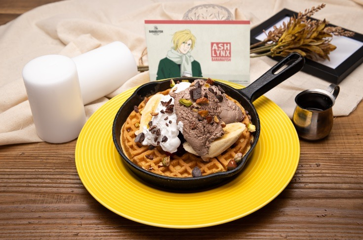 Banana Fish Christmas Dessert, featuring a waffle with ice cream on it
