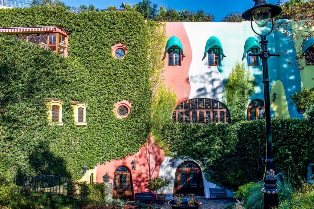 The outside of the Studio Ghibli museum located in Mitaka