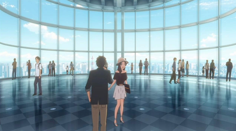 "Taki and Okudera senpai on their date at Roppongi Hills in ""Your Name""."