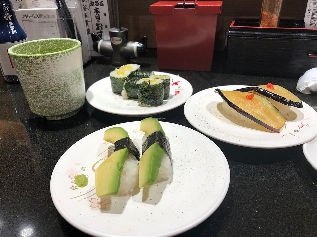 Avocado Nigiri, Pickle rolls and eggplant nigiri.