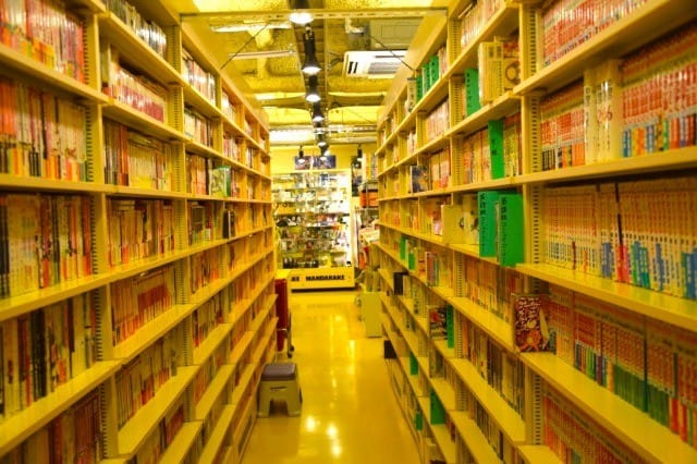 rows of manga located in the mandarake store in Nakano.