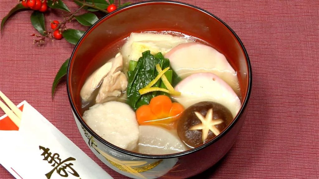 Mochi soup full of vegetables and mochi.