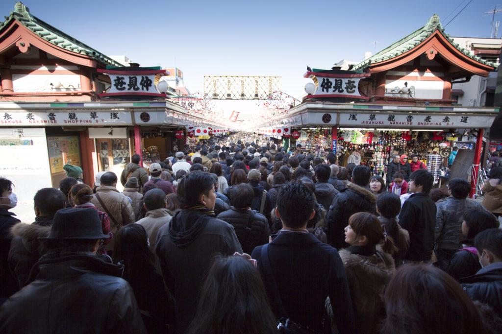 People entering Senso-ji Temple in Asakusa during the New Year
