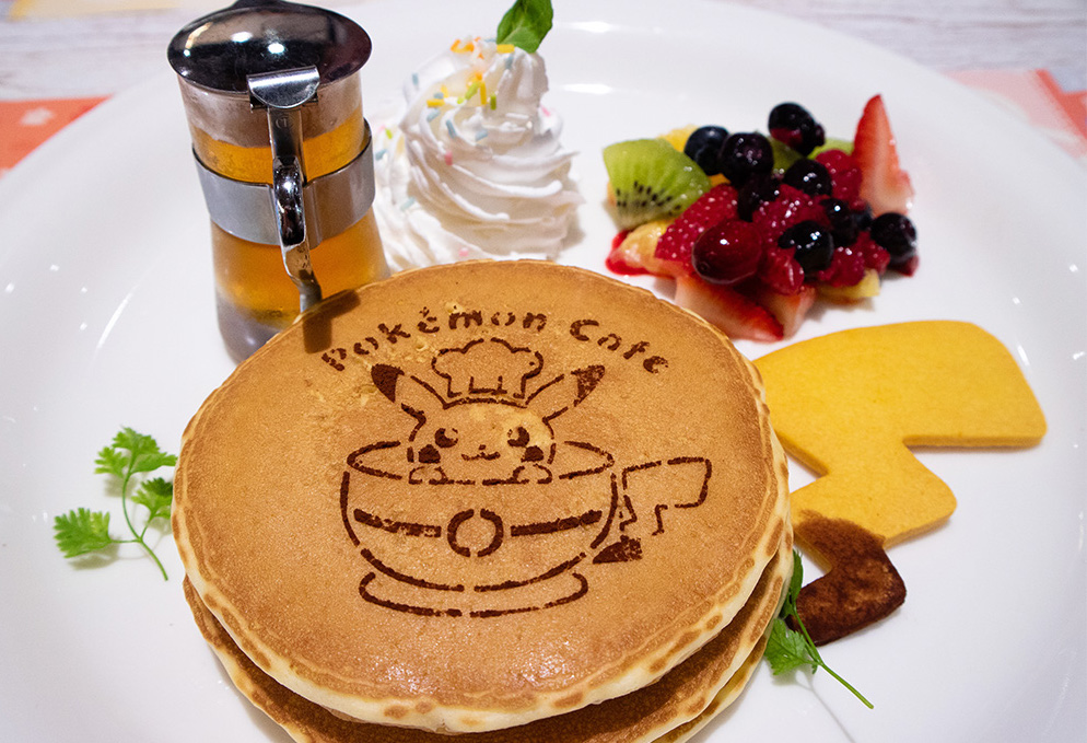 pancakes with pikachu printed on them.