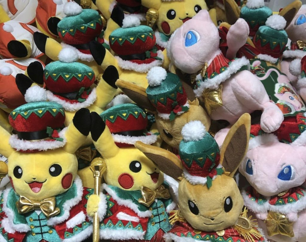 christmas pokemon plushies in a pile