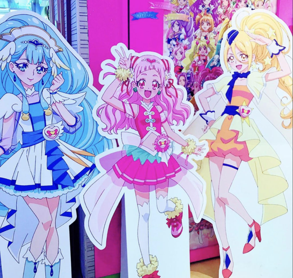 cardboard cutouts of PreCure characters