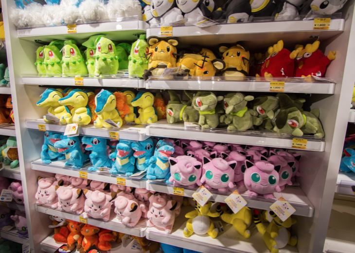 Pokemon plushies on sale in the pokemon center in Ikebukuro.