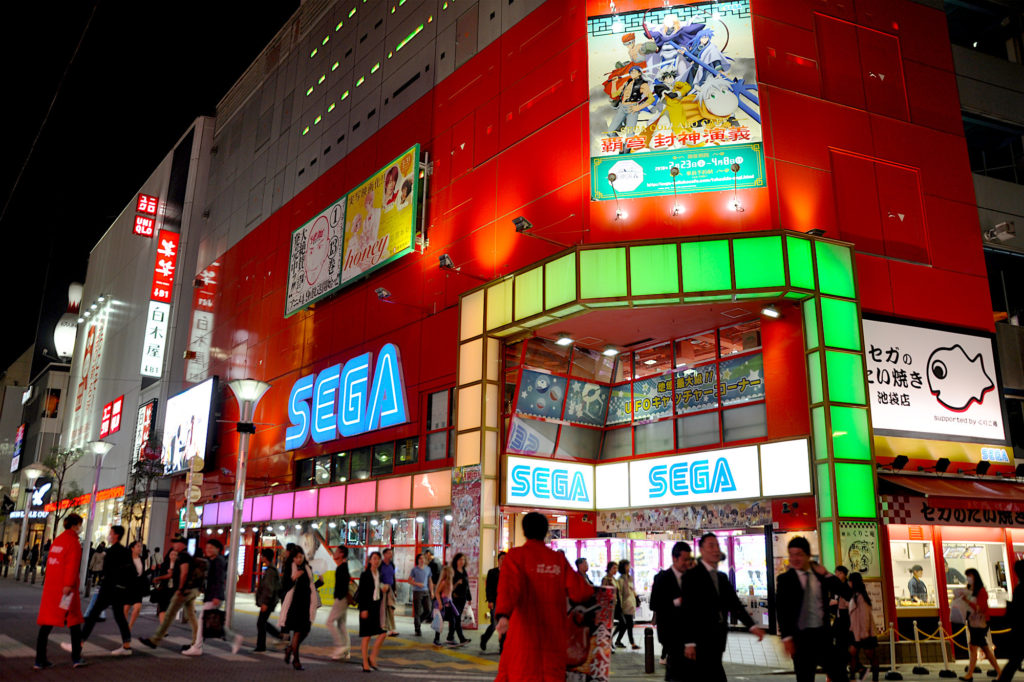 ikebukuro sega arcade at night