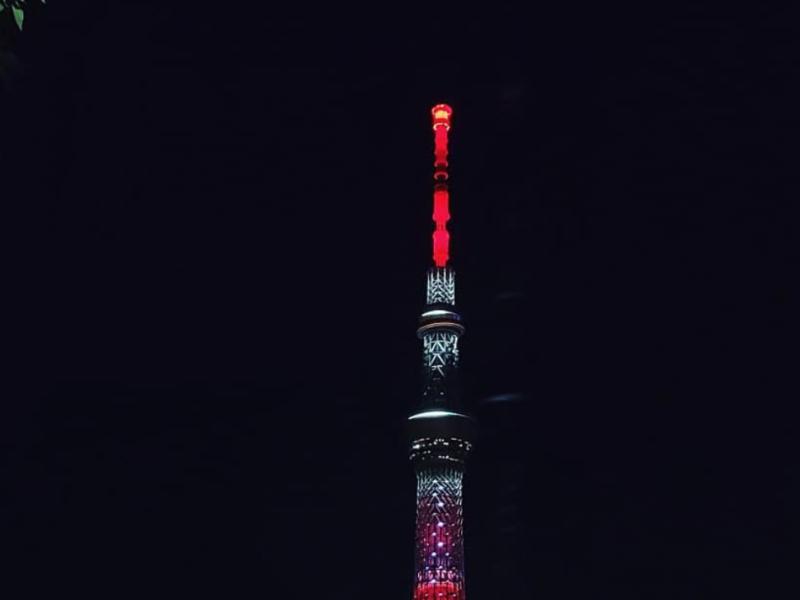 Tokyo Skytree Glows Red for Demon Slayer Movie